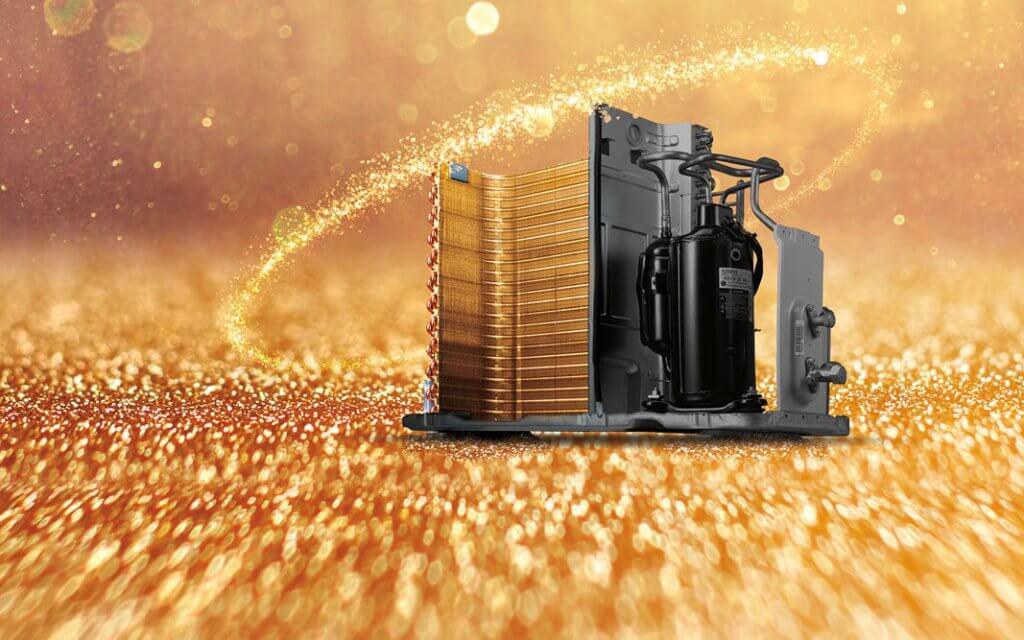 پره ها و پوشش طلا یا فین در یونیت خارجی کولر های گازی ال جی